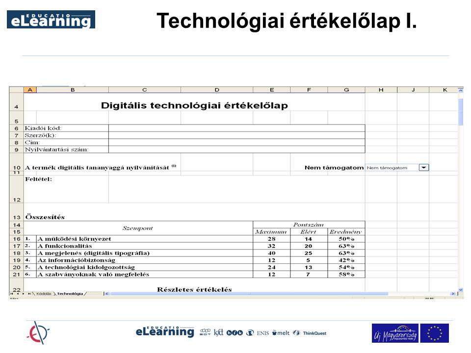 Technológiai értékelőlap I.
