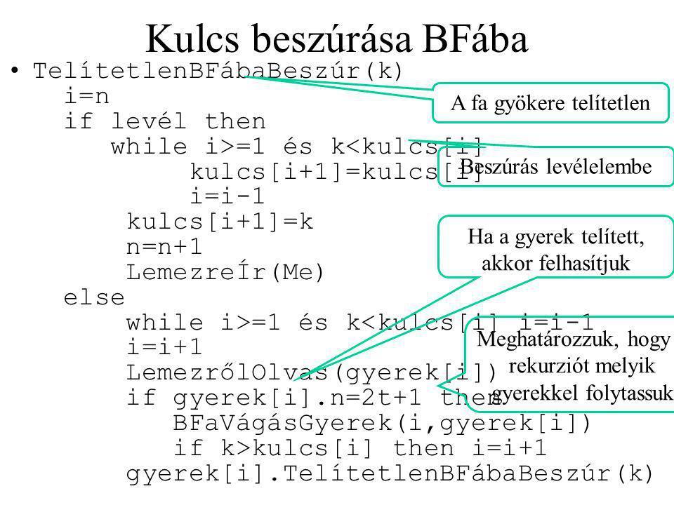 TelítetlenBFábaBeszúr(k) i=n if levél then while i>=1 és k =1 és k kulcs[i] then i=i+1 gyerek[i].TelítetlenBFábaBeszúr(k) Kulcs beszúrása BFába Beszúrás levélelembe Ha a gyerek telített, akkor felhasítjuk Meghatározzuk, hogy a rekurziót melyik gyerekkel folytassuk A fa gyökere telítetlen