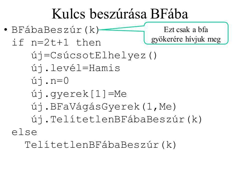 Kulcs beszúrása BFába BFábaBeszúr(k) if n=2t+1 then új=CsúcsotElhelyez() új.levél=Hamis új.n=0 új.gyerek[1]=Me új.BFaVágásGyerek(1,Me) új.TelítetlenBFábaBeszúr(k) else TelítetlenBFábaBeszúr(k) Ezt csak a bfa gyökerére hívjuk meg