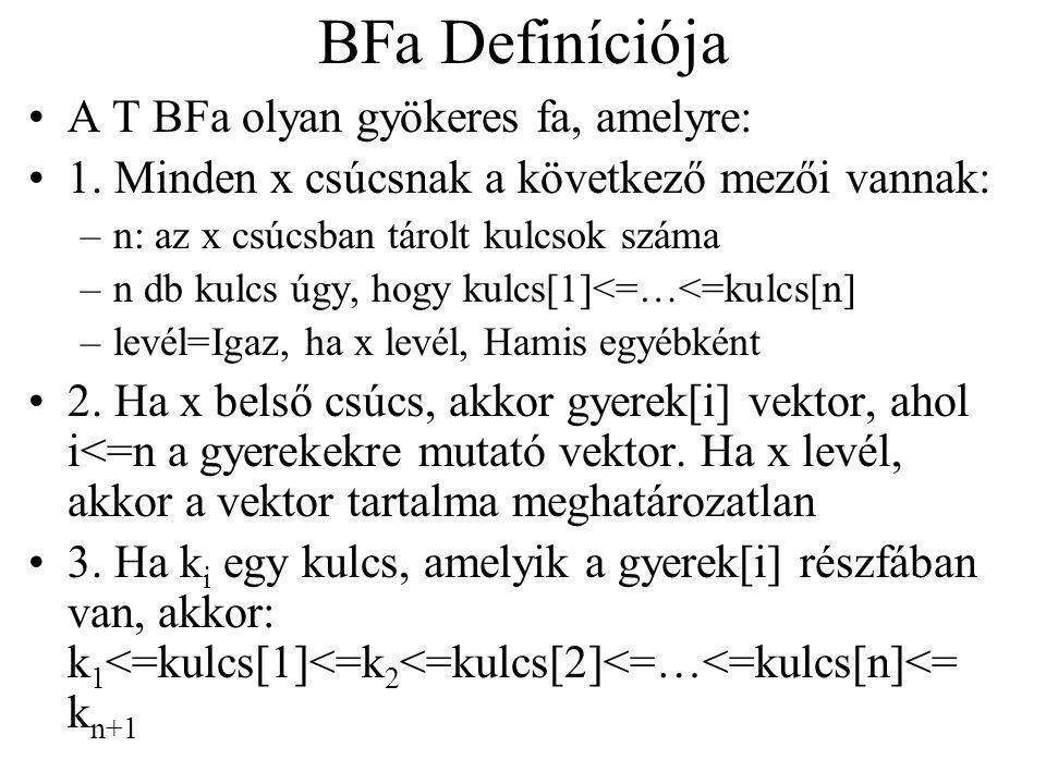 BFa Definíciója A T BFa olyan gyökeres fa, amelyre: 1. Minden x csúcsnak a következő mezői vannak: –n: az x csúcsban tárolt kulcsok száma –n db kulcs
