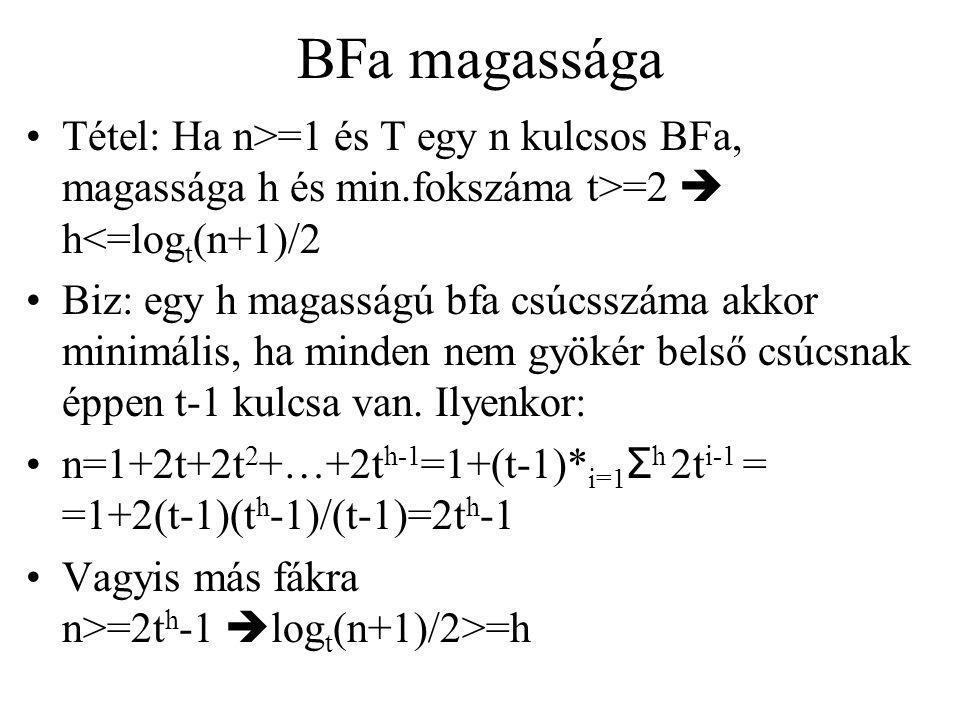 BFa magassága Tétel: Ha n>=1 és T egy n kulcsos BFa, magassága h és min.fokszáma t>=2  h<=log t (n+1)/2 Biz: egy h magasságú bfa csúcsszáma akkor minimális, ha minden nem gyökér belső csúcsnak éppen t-1 kulcsa van.