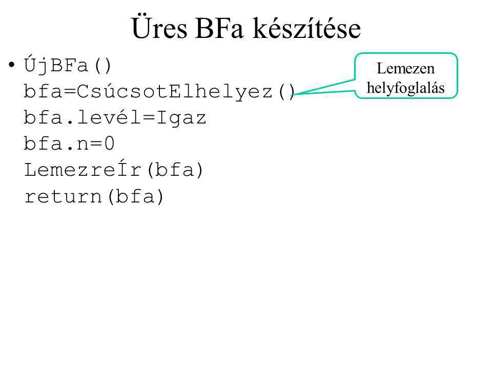 Üres BFa készítése ÚjBFa() bfa=CsúcsotElhelyez() bfa.levél=Igaz bfa.n=0 LemezreÍr(bfa) return(bfa) Lemezen helyfoglalás