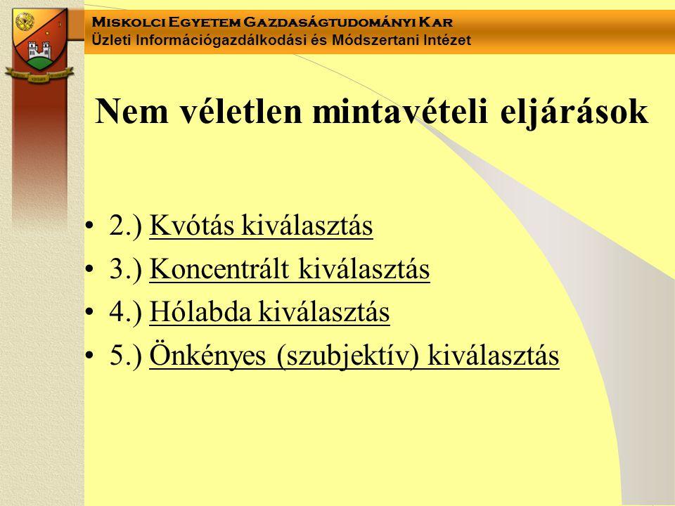 Miskolci Egyetem Gazdaságtudományi Kar Üzleti Információgazdálkodási és Módszertani Intézet Nem véletlen mintavételi eljárások 2.) Kvótás kiválasztás 3.) Koncentrált kiválasztás 4.) Hólabda kiválasztás 5.) Önkényes (szubjektív) kiválasztás