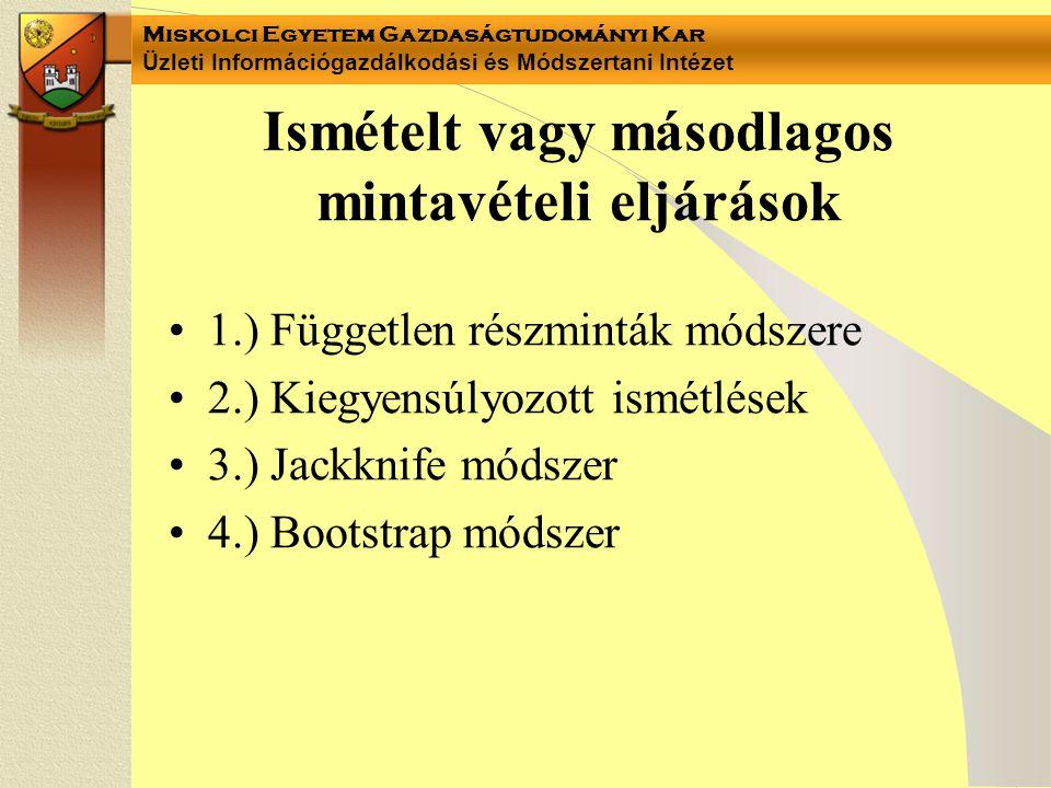 Miskolci Egyetem Gazdaságtudományi Kar Üzleti Információgazdálkodási és Módszertani Intézet Ismételt vagy másodlagos mintavételi eljárások 1.) Független részminták módszere 2.) Kiegyensúlyozott ismétlések 3.) Jackknife módszer 4.) Bootstrap módszer