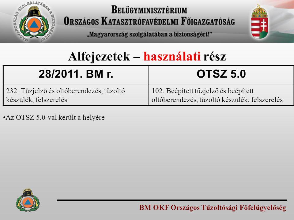BM OKF Országos Tűzoltósági Főfelügyelőség Alfejezetek – használati rész 28/2011.