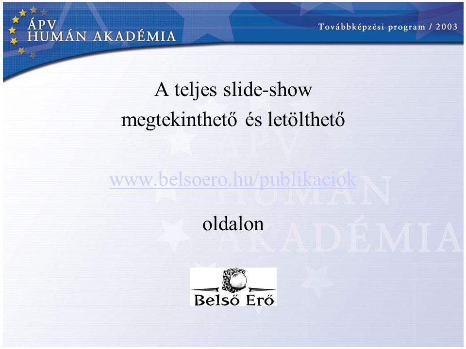 A teljes slide-show megtekinthető és letölthető www.belsoero.hu/publikaciok oldalon