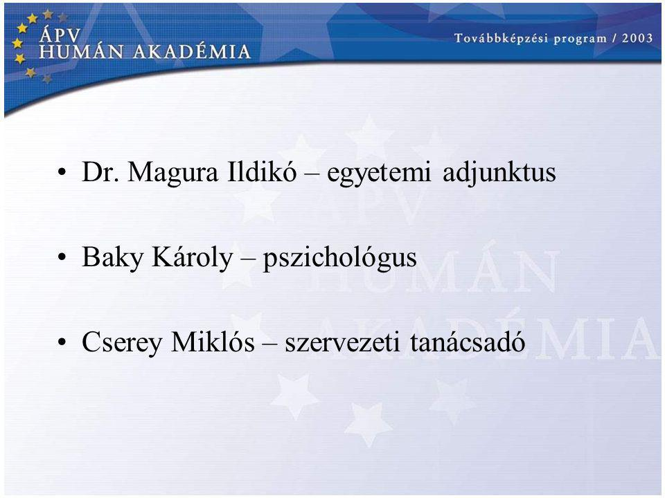 Dr. Magura Ildikó – egyetemi adjunktus Baky Károly – pszichológus Cserey Miklós – szervezeti tanácsadó