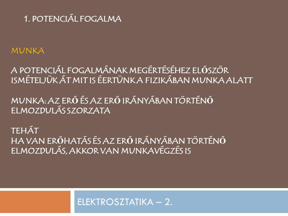 ELEKTROSZTATIKA – 2. 1. POTENCIÁL FOGALMA MUNKA A POTENCIÁL FOGALMÁNAK MEGÉRTÉSÉHEZ EL Ő SZÖR ISMÉTELJÜK ÁT MIT IS ÉERTÜNK A FIZIKÁBAN MUNKA ALATT MUN