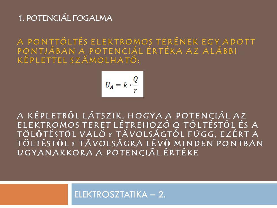 ELEKTROSZTATIKA – 2. 1. POTENCIÁL FOGALMA A PONTTÖLTÉS ELEKTROMOS TERÉNEK EGY ADOTT PONTJÁBAN A POTENCIÁL ÉRTÉKA AZ ALÁBBI KÉPLETTEL SZÁMOLHATÓ: A KÉP