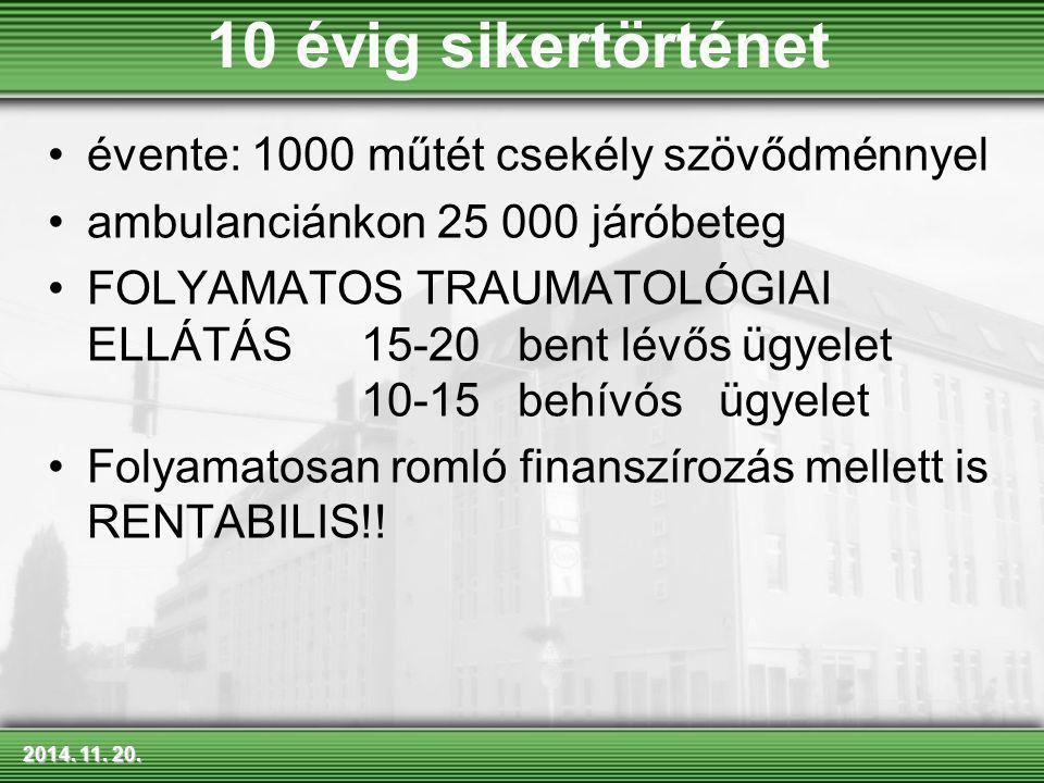 2014. 11. 20.2014. 11. 20.2014. 11. 20. évente: 1000 műtét csekély szövődménnyel ambulanciánkon 25 000 járóbeteg FOLYAMATOS TRAUMATOLÓGIAI ELLÁTÁS 15-