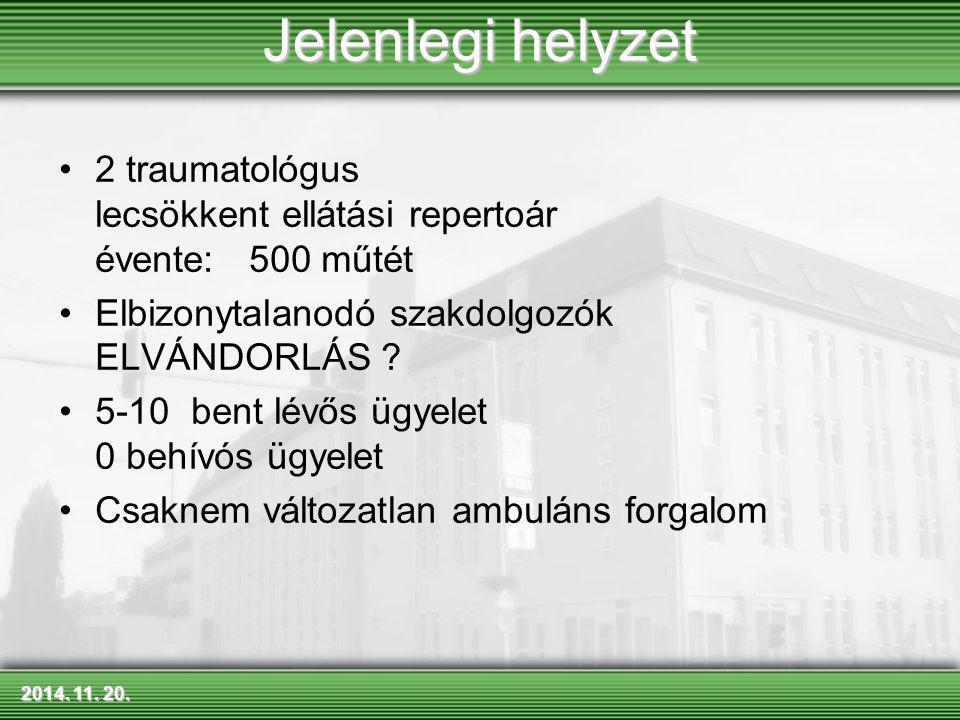 2014. 11. 20.2014. 11. 20.2014. 11. 20. Jelenlegi helyzet 2 traumatológus lecsökkent ellátási repertoár évente: 500 műtét Elbizonytalanodó szakdolgozó