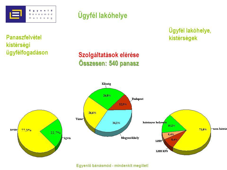 Panaszfelvétel kistérségi ügyfélfogadáson Ügyfél lakóhelye Ügyfél lakóhelye, kistérségek Szolgáltatások elérése Összesen: 540 panasz Egyenlő bánásmód