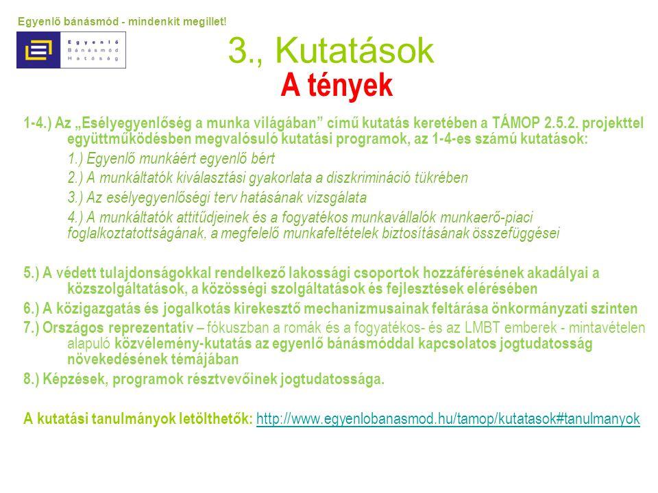 """3., Kutatások A tények 1-4.) Az """"Esélyegyenlőség a munka világában"""" című kutatás keretében a TÁMOP 2.5.2. projekttel együttműködésben megvalósuló kuta"""