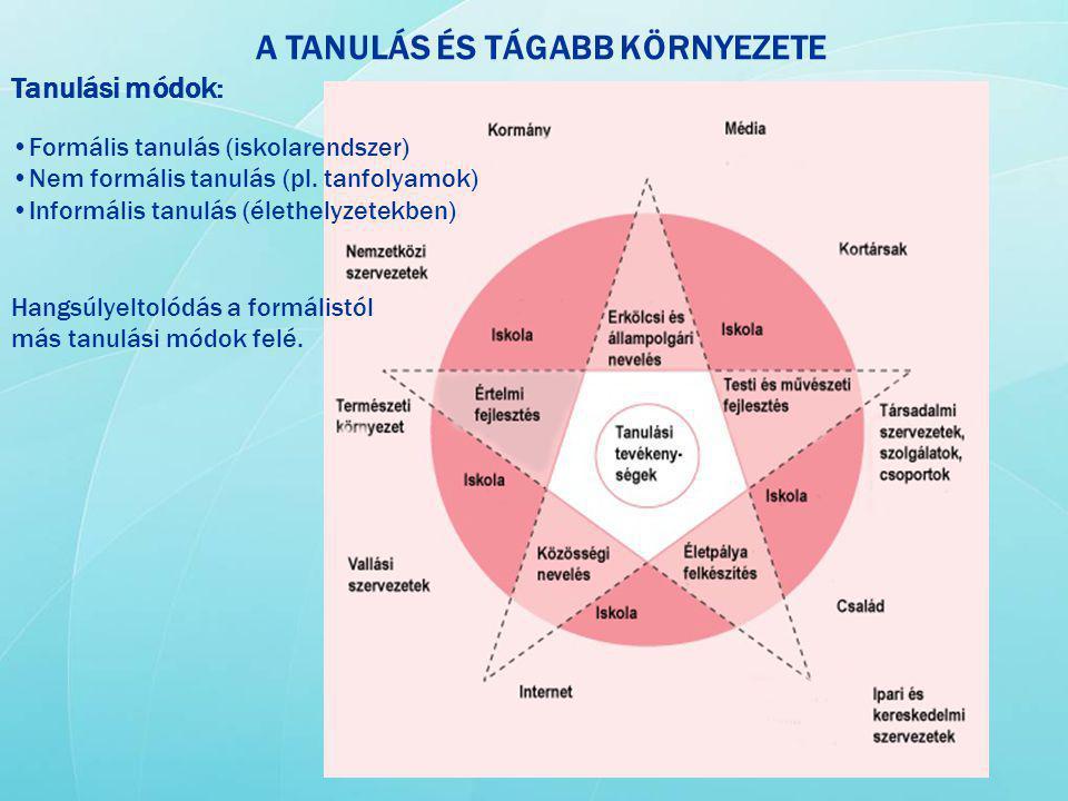 A TANULÁS ÉS TÁGABB KÖRNYEZETE Tanulási módok: Formális tanulás (iskolarendszer) Nem formális tanulás (pl. tanfolyamok) Informális tanulás (élethelyze