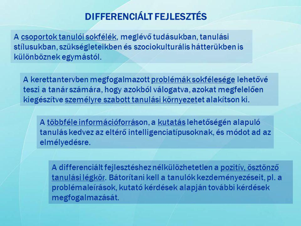 DIFFERENCIÁLT FEJLESZTÉS A csoportok tanulói sokfélék, meglévő tudásukban, tanulási stílusukban, szükségleteikben és szociokulturális hátterükben is k