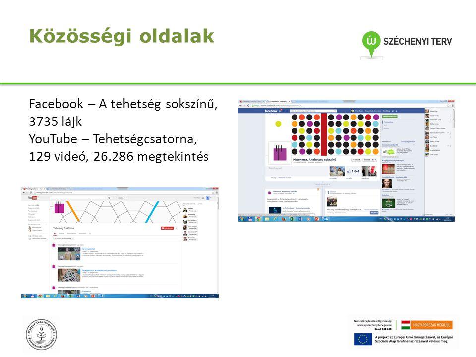 Közösségi oldalak Facebook – A tehetség sokszínű, 3735 lájk YouTube – Tehetségcsatorna, 129 videó, 26.286 megtekintés