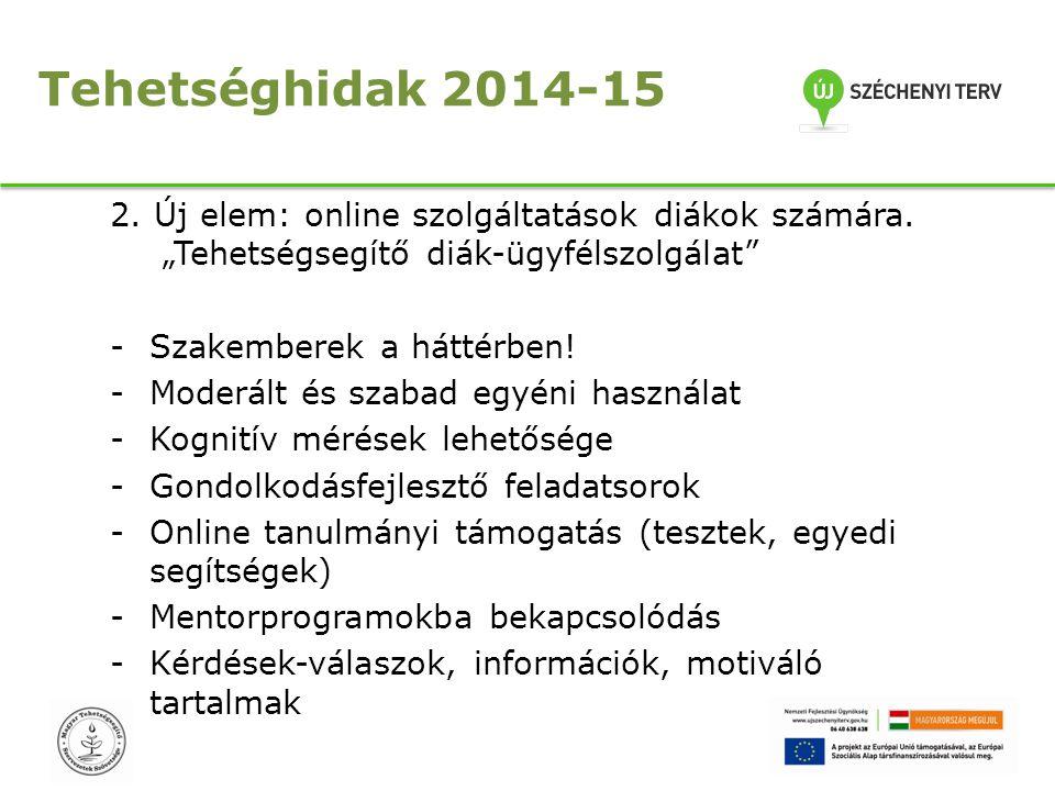 """Tehetséghidak 2014-15 2. Új elem: online szolgáltatások diákok számára. """"Tehetségsegítő diák-ügyfélszolgálat"""" -Szakemberek a háttérben! -Moderált és s"""
