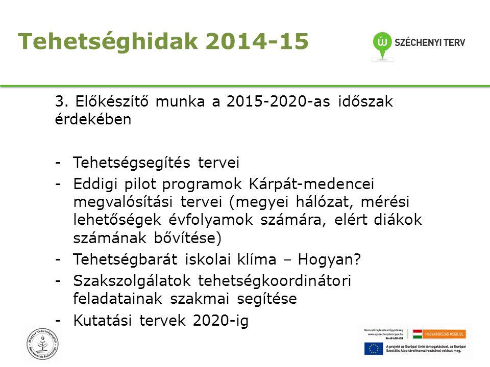 Tehetséghidak 2014-15 3. Előkészítő munka a 2015-2020-as időszak érdekében -Tehetségsegítés tervei -Eddigi pilot programok Kárpát-medencei megvalósítá