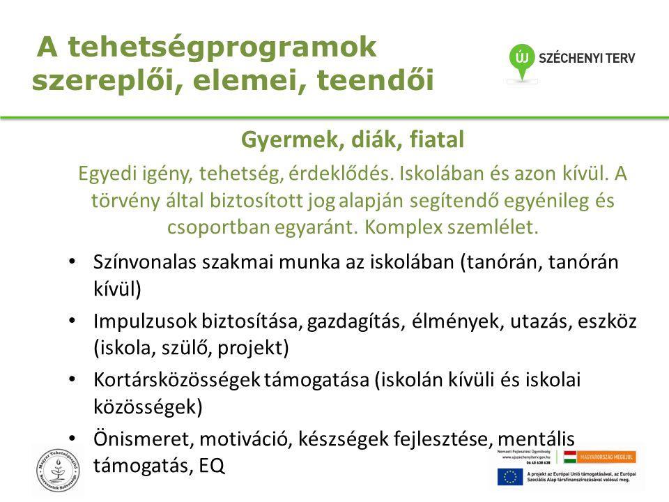 A tehetségprogramok szereplői, elemei, teendői Gyermek, diák, fiatal Egyedi igény, tehetség, érdeklődés. Iskolában és azon kívül. A törvény által bizt