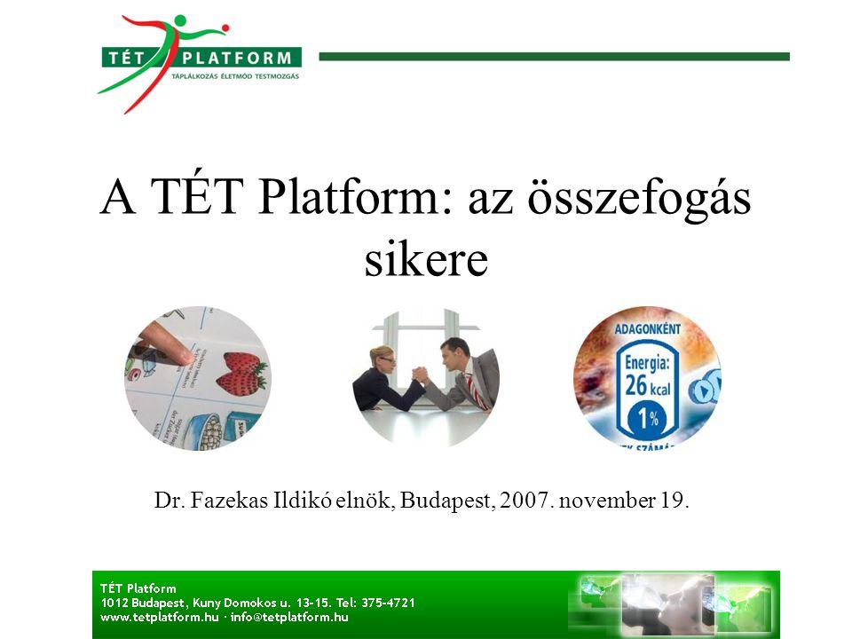 A TÉT Platform: az összefogás sikere Dr. Fazekas Ildikó elnök, Budapest, 2007. november 19.