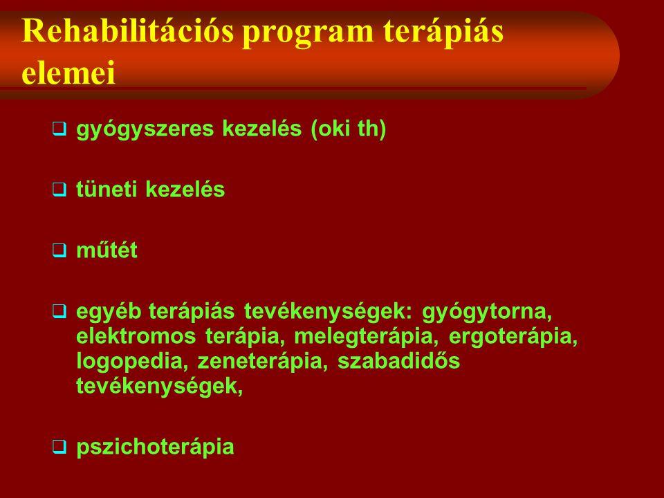 Rehabilitációs program terápiás elemei  gyógyszeres kezelés (oki th)  tüneti kezelés  műtét  egyéb terápiás tevékenységek: gyógytorna, elektromos terápia, melegterápia, ergoterápia, logopedia, zeneterápia, szabadidős tevékenységek,  pszichoterápia