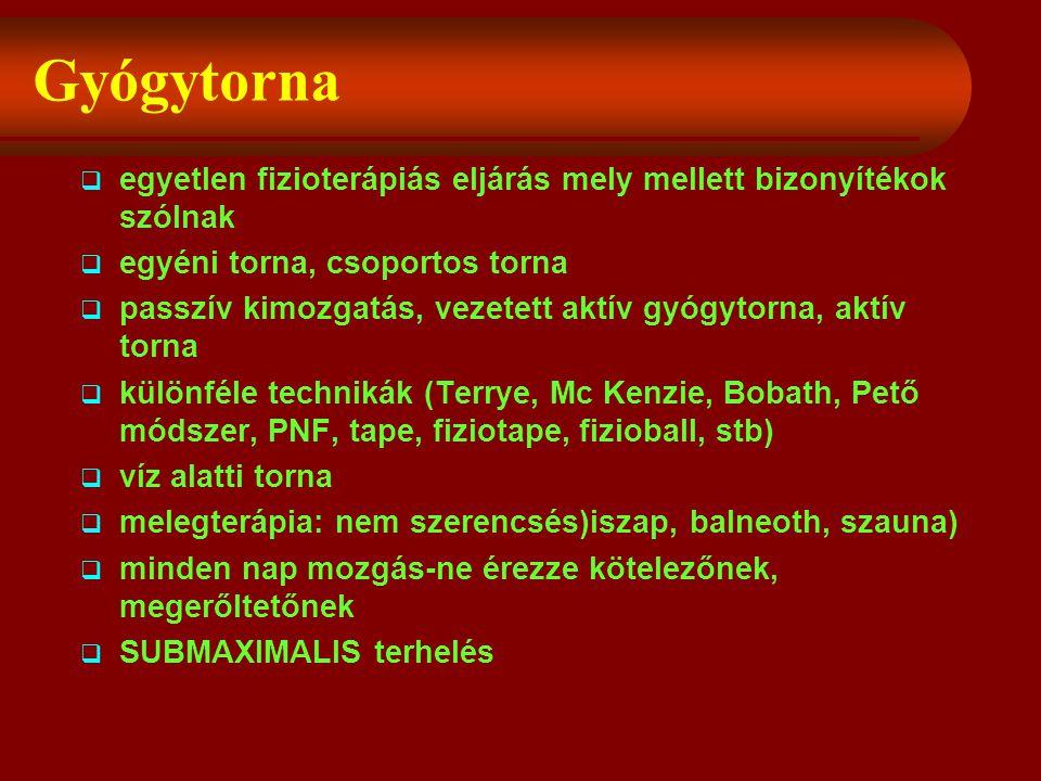 Gyógytorna  egyetlen fizioterápiás eljárás mely mellett bizonyítékok szólnak  egyéni torna, csoportos torna  passzív kimozgatás, vezetett aktív gyógytorna, aktív torna  különféle technikák (Terrye, Mc Kenzie, Bobath, Pető módszer, PNF, tape, fiziotape, fizioball, stb)  víz alatti torna  melegterápia: nem szerencsés)iszap, balneoth, szauna)  minden nap mozgás-ne érezze kötelezőnek, megerőltetőnek  SUBMAXIMALIS terhelés