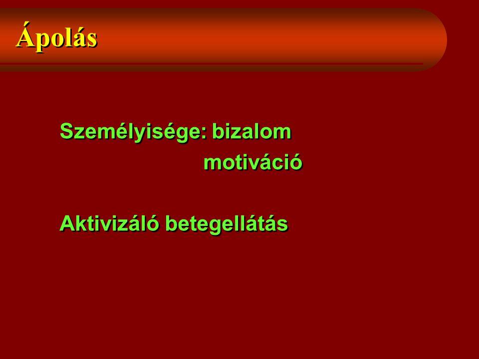 Ápolás Személyisége: bizalom motiváció Aktivizáló betegellátás Személyisége: bizalom motiváció Aktivizáló betegellátás