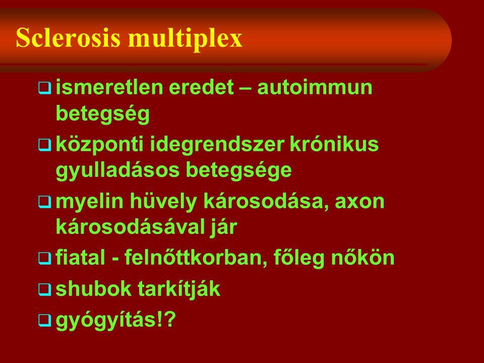 Sclerosis multiplex  ismeretlen eredet – autoimmun betegség  központi idegrendszer krónikus gyulladásos betegsége  myelin hüvely károsodása, axon károsodásával jár  fiatal - felnőttkorban, főleg nőkön  shubok tarkítják  gyógyítás!?