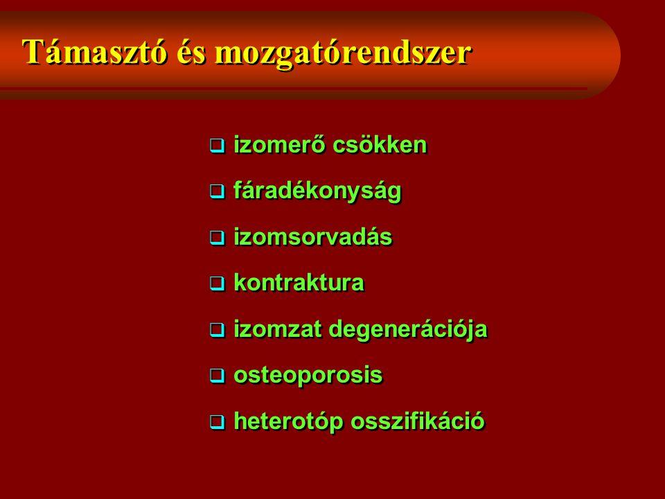 Támasztó és mozgatórendszer  izomerő csökken  fáradékonyság  izomsorvadás  kontraktura  izomzat degenerációja  osteoporosis  heterotóp osszifikáció  izomerő csökken  fáradékonyság  izomsorvadás  kontraktura  izomzat degenerációja  osteoporosis  heterotóp osszifikáció