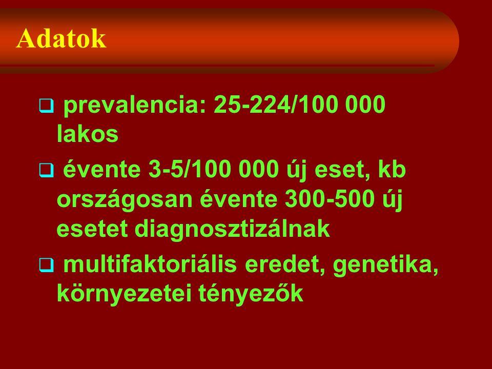 Adatok  prevalencia: 25-224/100 000 lakos  évente 3-5/100 000 új eset, kb országosan évente 300-500 új esetet diagnosztizálnak  multifaktoriális eredet, genetika, környezetei tényezők