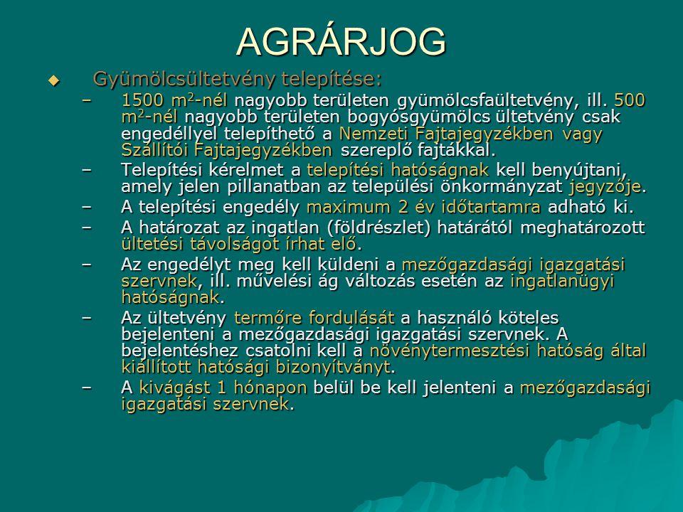 AGRÁRJOG  Gyümölcsültetvény telepítése: –1500 m 2 -nél nagyobb területen gyümölcsfaültetvény, ill. 500 m 2 -nél nagyobb területen bogyósgyümölcs ülte