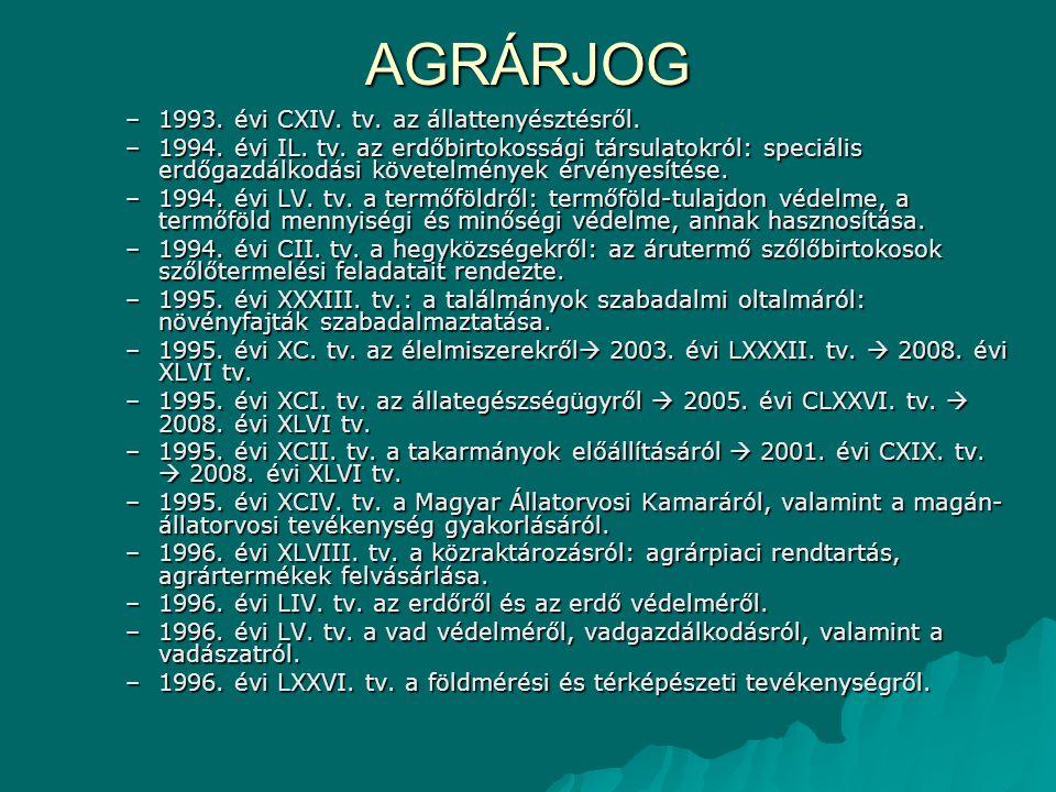 AGRÁRJOG –1993. évi CXIV. tv. az állattenyésztésről. –1994. évi IL. tv. az erdőbirtokossági társulatokról: speciális erdőgazdálkodási követelmények ér