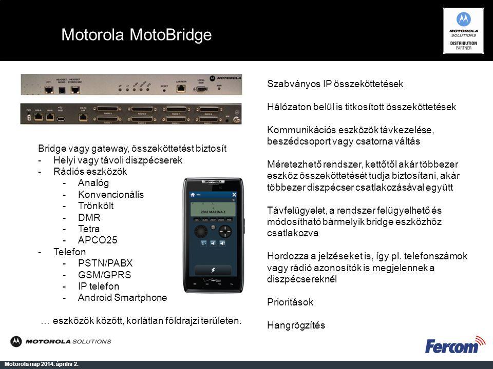 Motorola MotoBridge Motorola nap 2014. április 2. Bridge vagy gateway, összeköttetést biztosít -Helyi vagy távoli diszpécserek -Rádiós eszközök -Analó