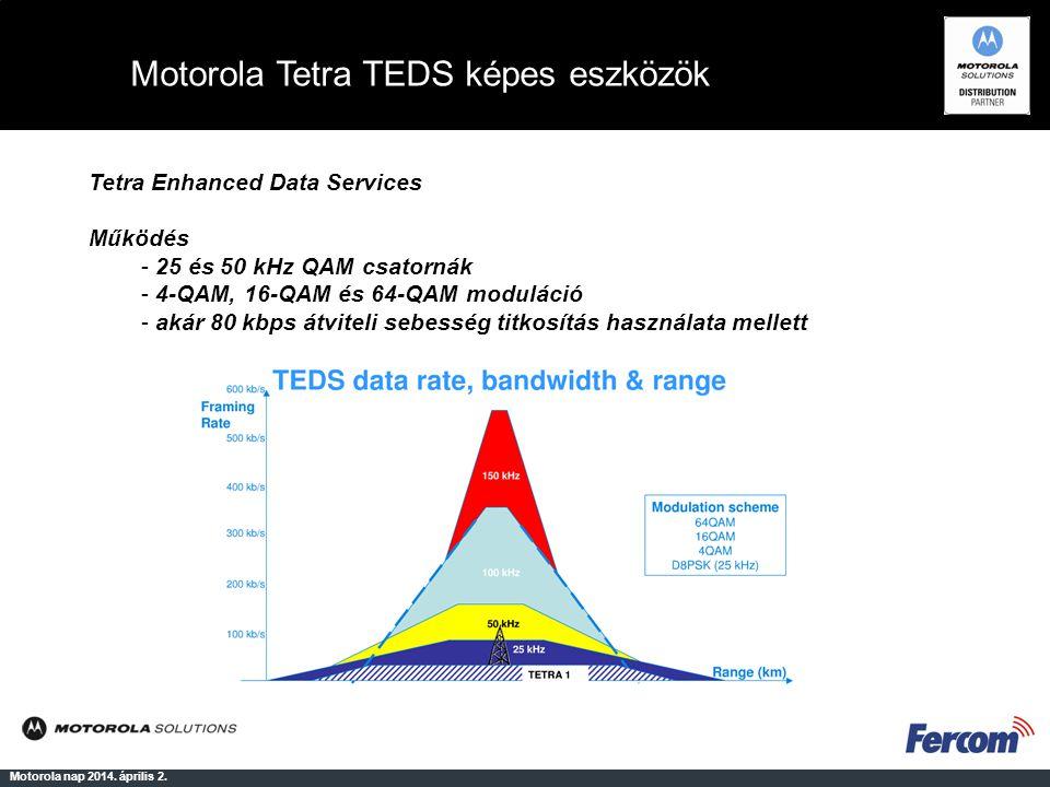 Motorola Tetra TEDS képes eszközök Motorola nap 2014. április 2. Tetra Enhanced Data Services Működés - 25 és 50 kHz QAM csatornák - 4-QAM, 16-QAM és