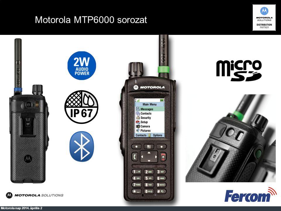 Motorola MTM5500 TEDS képesség 10W standard kimenő teljesítmény Nagyméretű, színes kijelző Gateway/repeater funkció Akár 40m távolság a rádiótól Többféle működési változat (asztali, motoros, távkezelős, stb.