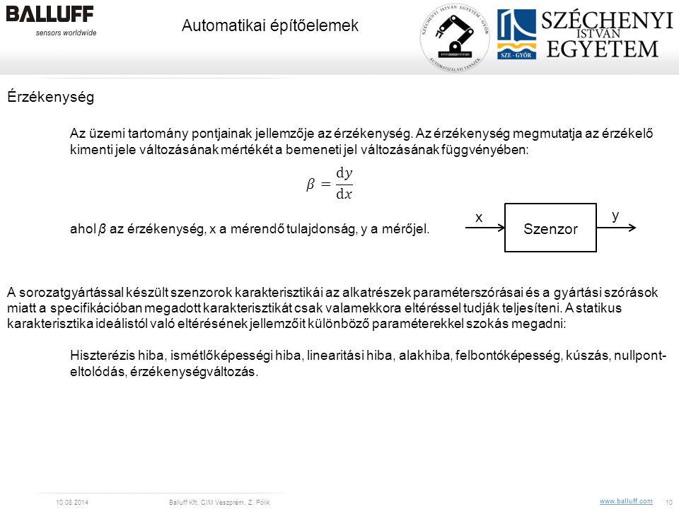 www.balluff.com Automatikai építőelemek 10.08.2014Balluff Kft, CIM Veszprém, Z. Pólik10 Érzékenység Az üzemi tartomány pontjainak jellemzője az érzéke