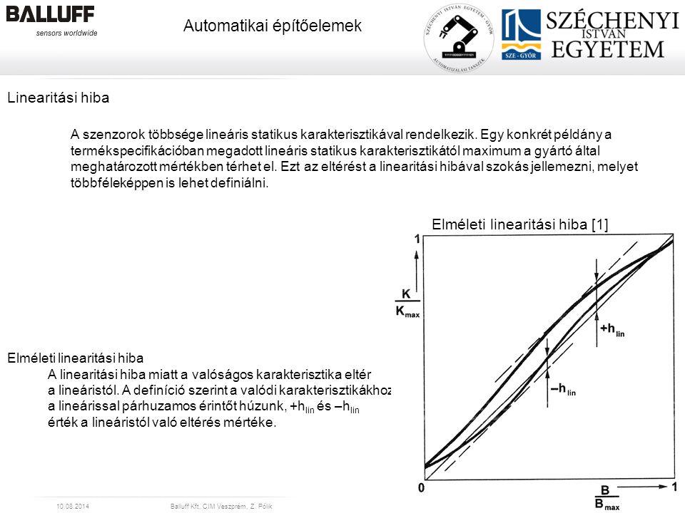 www.balluff.com Automatikai építőelemek 10.08.2014Balluff Kft, CIM Veszprém, Z. Pólik12 Linearitási hiba A szenzorok többsége lineáris statikus karakt