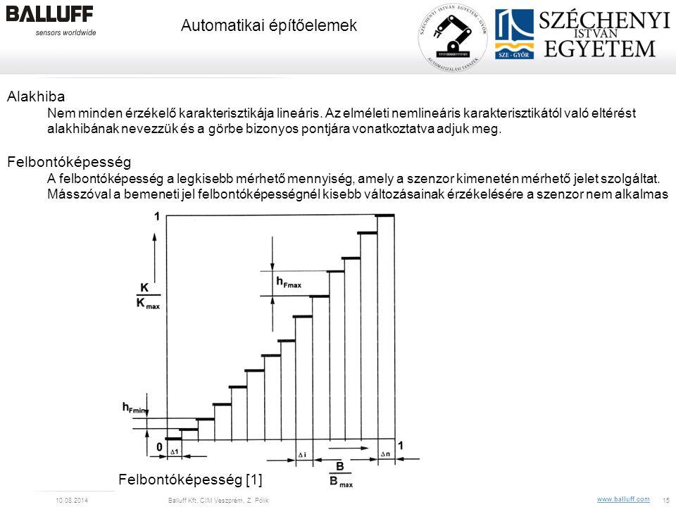 www.balluff.com Automatikai építőelemek 10.08.2014Balluff Kft, CIM Veszprém, Z. Pólik15 Alakhiba Nem minden érzékelő karakterisztikája lineáris. Az el