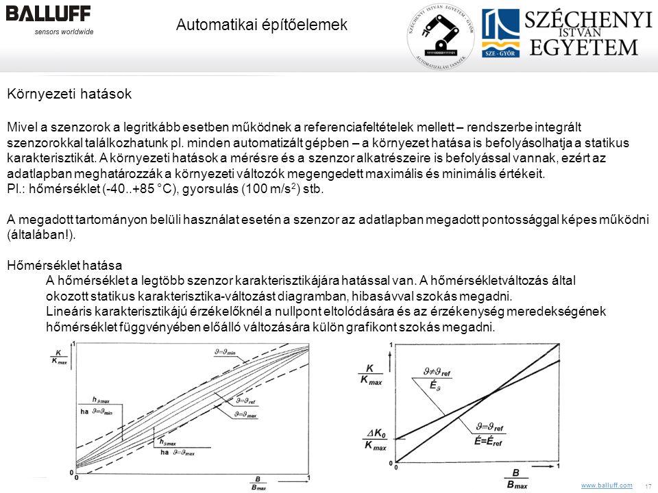www.balluff.com Automatikai építőelemek 10.08.2014Balluff Kft, CIM Veszprém, Z. Pólik17 Környezeti hatások Mivel a szenzorok a legritkább esetben műkö