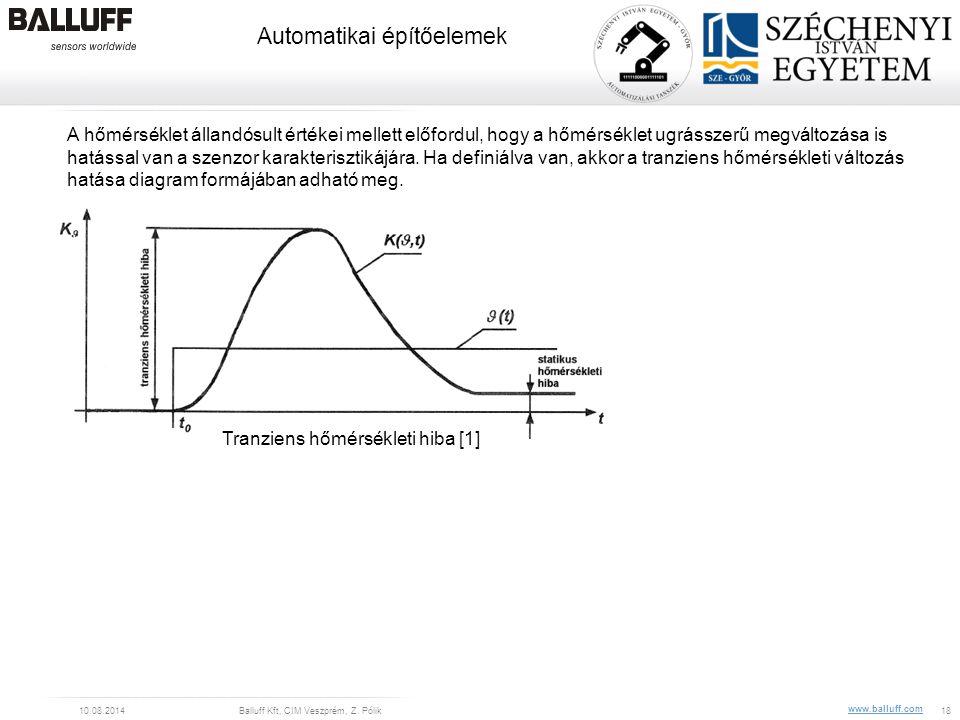 www.balluff.com Automatikai építőelemek 10.08.2014Balluff Kft, CIM Veszprém, Z. Pólik18 A hőmérséklet állandósult értékei mellett előfordul, hogy a hő