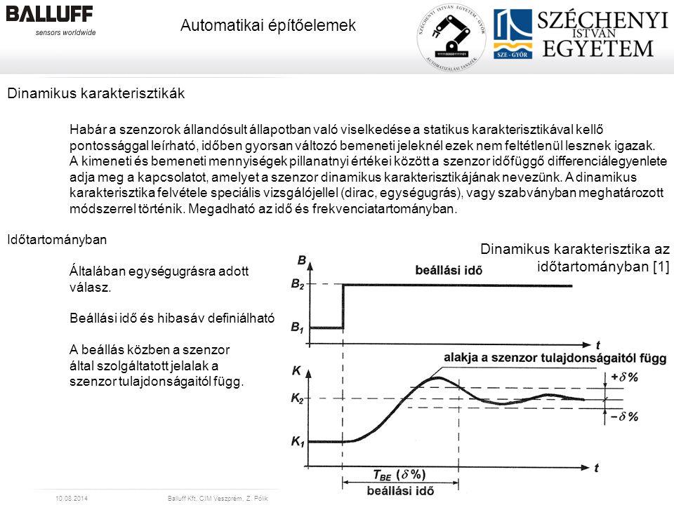 www.balluff.com Automatikai építőelemek 10.08.2014Balluff Kft, CIM Veszprém, Z. Pólik23 Dinamikus karakterisztikák Habár a szenzorok állandósult állap