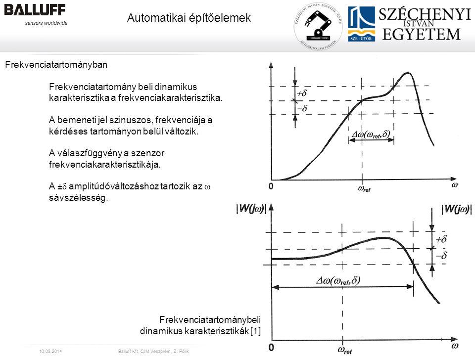 www.balluff.com Automatikai építőelemek 10.08.2014Balluff Kft, CIM Veszprém, Z. Pólik24 Frekvenciatartományban Frekvenciatartomány beli dinamikus kara