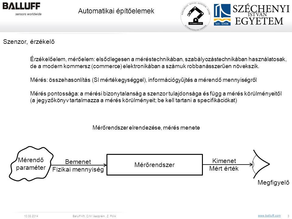 www.balluff.com Automatikai építőelemek 10.08.2014Balluff Kft, CIM Veszprém, Z. Pólik3 Kimenet Mért érték Bemenet Fizikai mennyiség Szenzor, érzékelő
