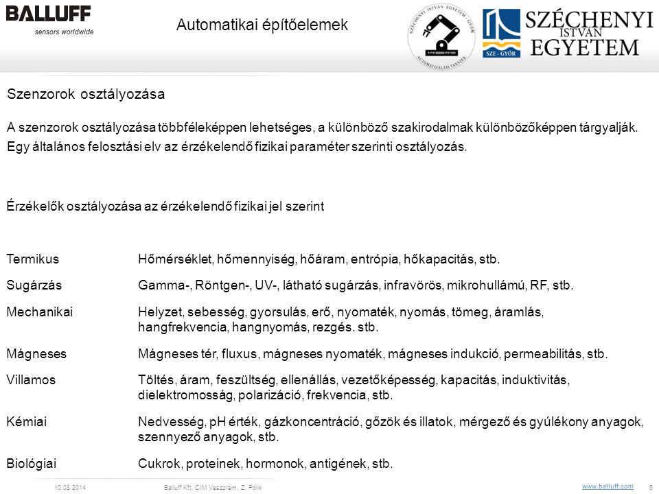 www.balluff.com Automatikai építőelemek 10.08.2014Balluff Kft, CIM Veszprém, Z. Pólik6 Érzékelők osztályozása az érzékelendő fizikai jel szerint Termi