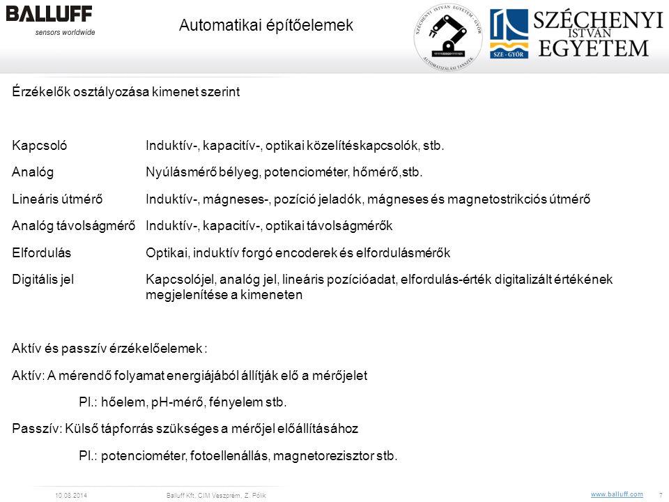 www.balluff.com Automatikai építőelemek 10.08.2014Balluff Kft, CIM Veszprém, Z. Pólik7 Érzékelők osztályozása kimenet szerint KapcsolóInduktív-, kapac