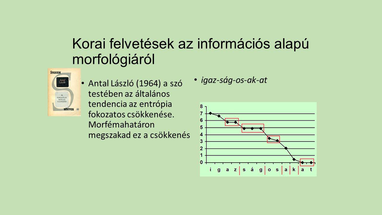 Korai felvetések az információs alapú morfológiáról Antal László (1964) a szó testében az általános tendencia az entrópia fokozatos csökkenése. Morfém
