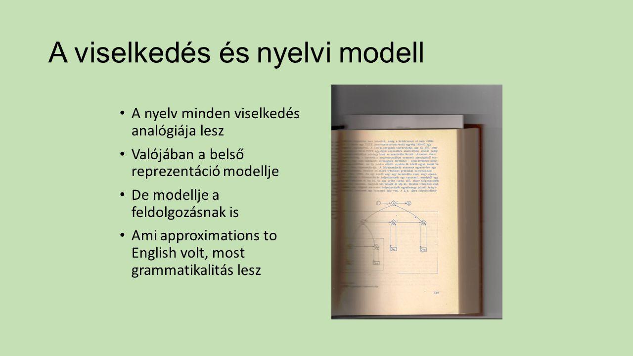A viselkedés és nyelvi modell A nyelv minden viselkedés analógiája lesz Valójában a belső reprezentáció modellje De modellje a feldolgozásnak is Ami a
