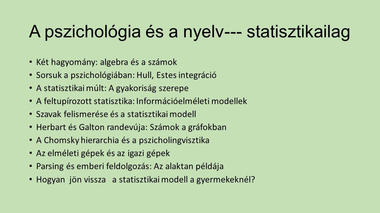 A pszichológia és a nyelv--- statisztikailag Két hagyomány: algebra és a számok Sorsuk a pszichológiában: Hull, Estes integráció A statisztikai múlt: