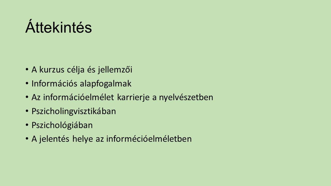 Áttekintés A kurzus célja és jellemzői Információs alapfogalmak Az információelmélet karrierje a nyelvészetben Pszicholingvisztikában Pszichológiában