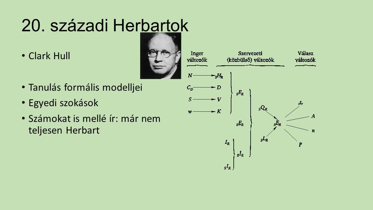 20. századi Herbartok Clark Hull Tanulás formális modelljei Egyedi szokások Számokat is mellé ír: már nem teljesen Herbart